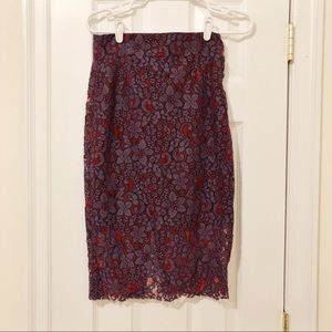 Purple and red lace pencil skirt
